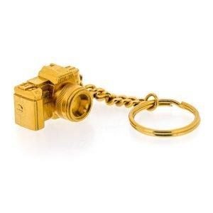 caméra porte-clés doré