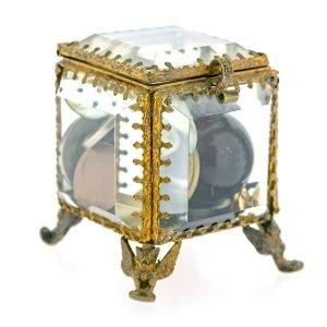 Boite Art Deco 1920 cristal laiton