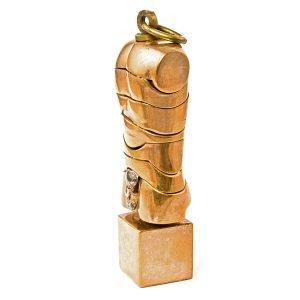 Berrocal – « micro-david » – Sculpture Puzzle En Bronze Doré Signé Berrocal