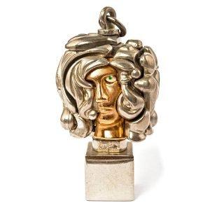Berrocal – « Mini Portrait de Michèle, 1969 » – Sculpture Puzzle En Bronze Doré Signé Berrocal