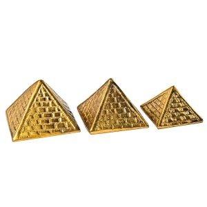 Pyramides énergétiques jeu de 3 laiton doré 5 cm de côté