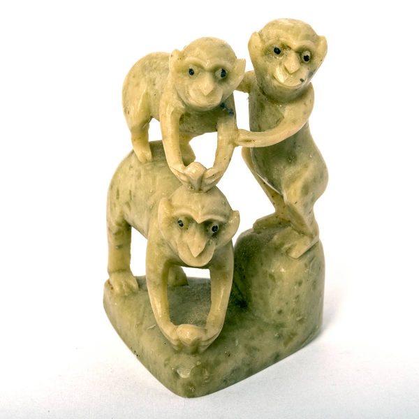 Statuette de 3 singes en pierre