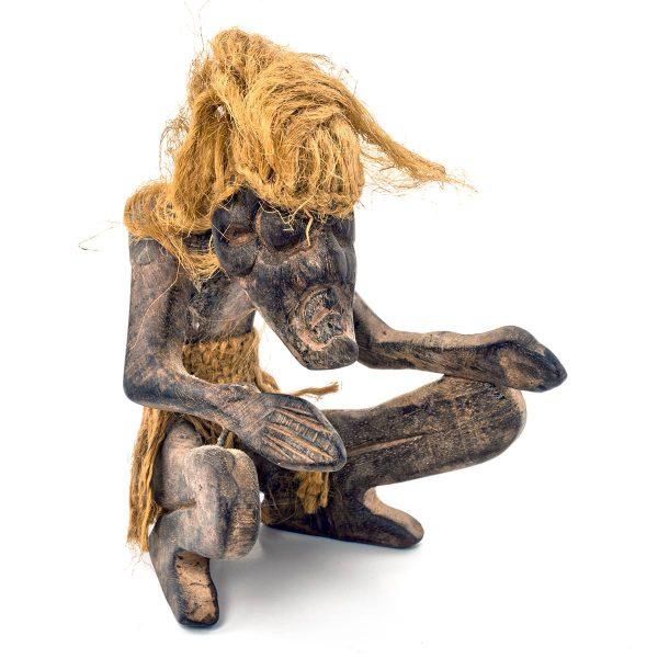 Statue Philippine bois Palawan Homme agenouillé