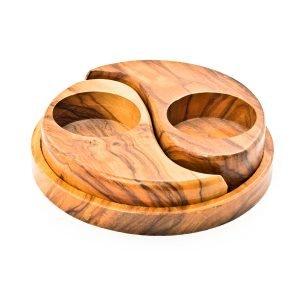 Bougeoir Ying-Yang en bois
