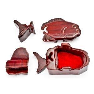 Boite bois laqué puzzle poisson